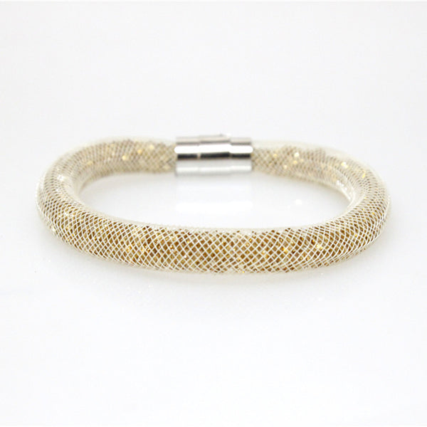 Gold Crystal Star Mesh Bracelet