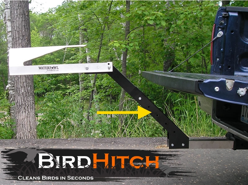 An image detailing how the Bird Hitch riser looks mounted on a vehicle.