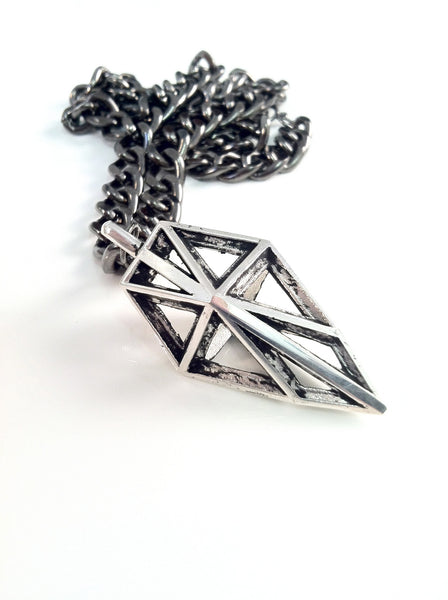 The Geo frame necklace in Gunmetal