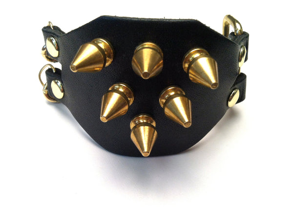 The spike band leather bracelet (Black)