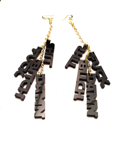 The profanity midnight earrings