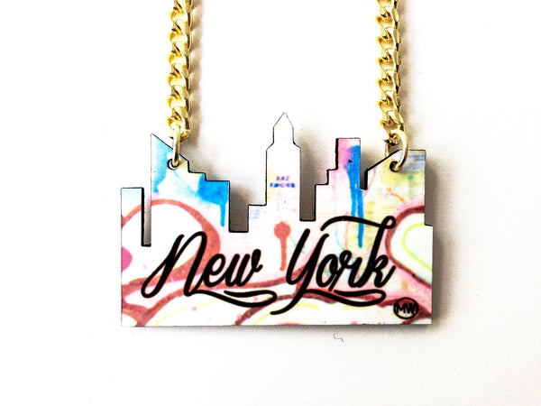 "The NY ""State of Mind"" cityscape necklace"