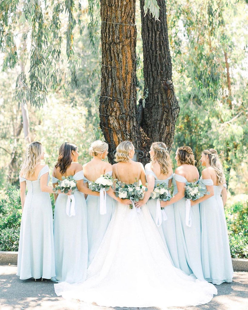 Sweet Blossom Weddings - Dusty Blue Bridesmaids Dresses