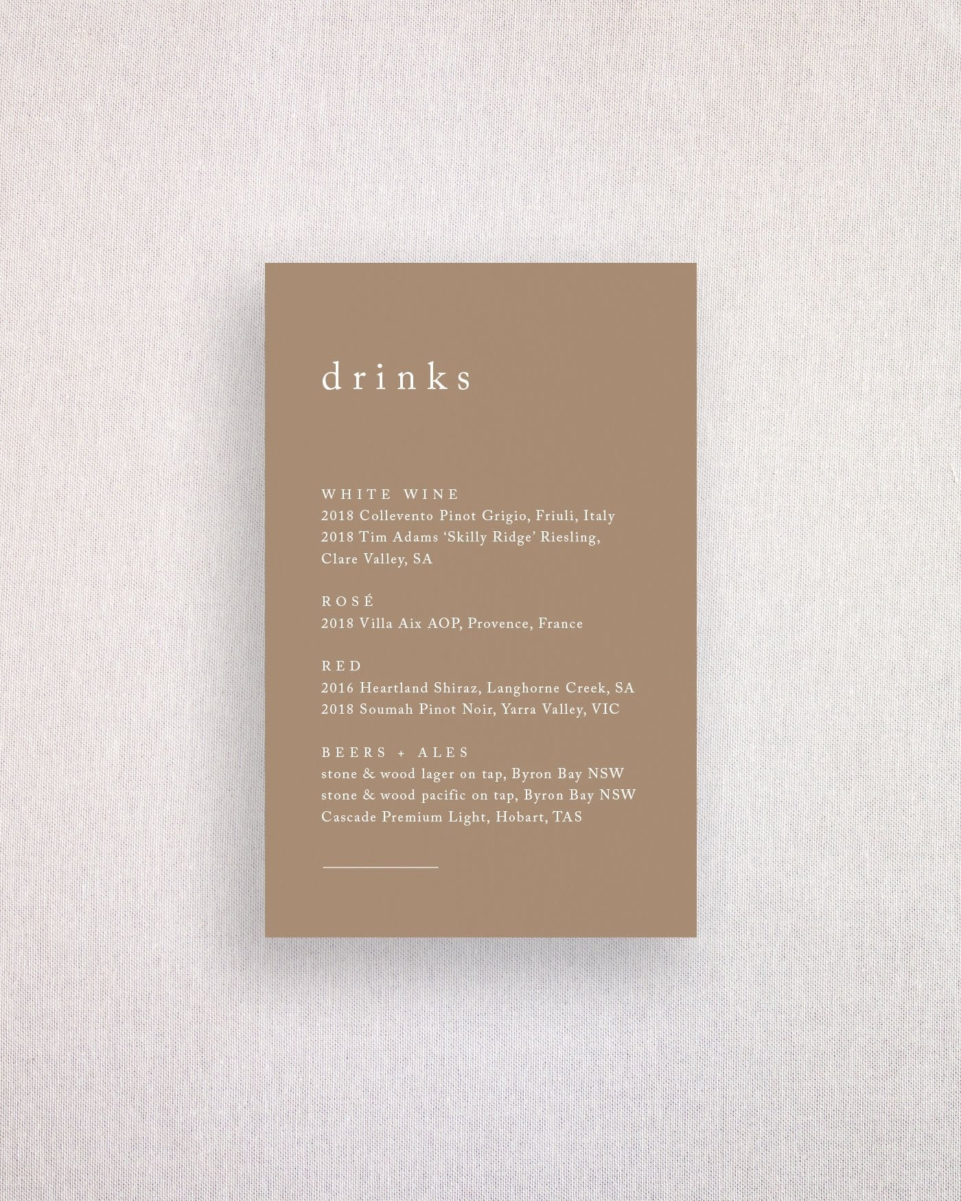 Habitat Drinks Menu