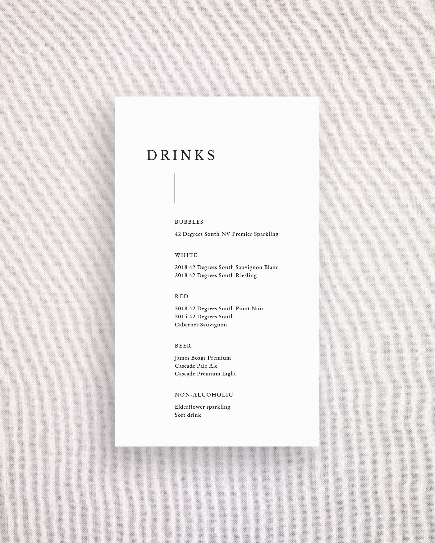 Milan Drinks Menu