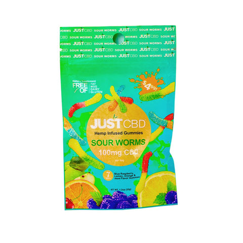 Just CBD Pouch Gummies - Sour Worms