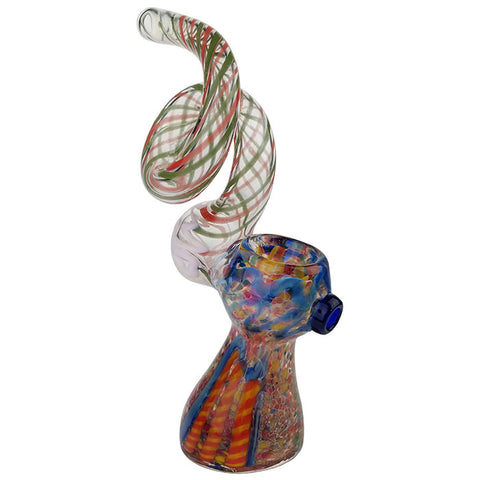 "7"" Twisted Long Mouth Frit Work Bubbler Hand Pipe"