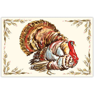 Hand Painted Turkey Paper Placemats