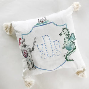 Brave Knight and Dragon Pillow with Monogram