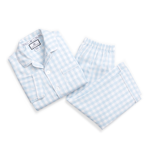 Boy's Light Blue Gingham Pajama Set