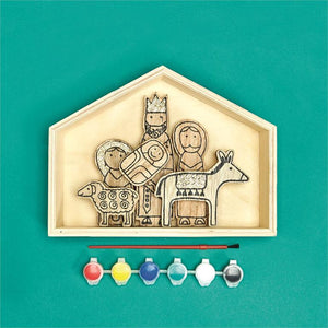Wooden Nativity Set with Paint