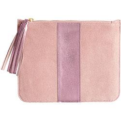 Pink Suede Pouch with Monogram
