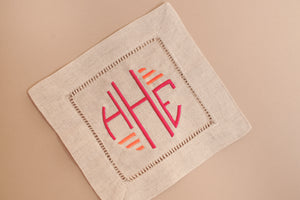 NATURAL LINEN COCKTAIL NAPKINS WITH MONOGRAM