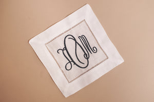 White Hemstitch Cocktail Napkins with Monogram