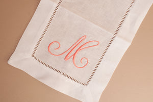 "WHITE 6x9"" LINEN COCKTAIL NAPKINS WITH MONOGRAM"