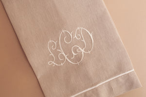 Natural Linen Guest Towel with Ivory Accent