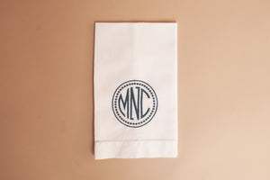 white linen guest towel monogrammed