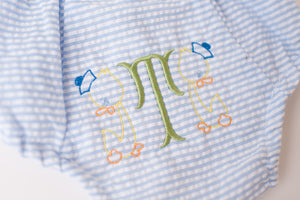 Seersucker Bloomer with Standard Monogram
