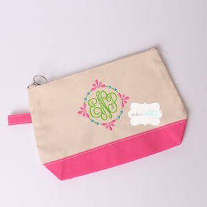 Canvas Accessory Pouch with Monogram