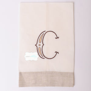 Ecru and Natural Band Guest Towel