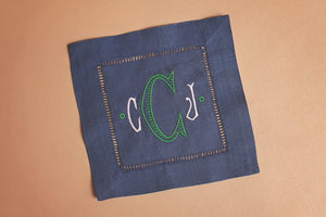 NAVY LINEN COCKTAIL NAPKINS WITH MONOGRAM