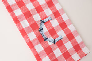 Red Buffalo Check Kitchen Towel with Monogram