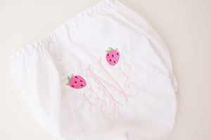 White Eyelet Bloomer with Standard Monogram