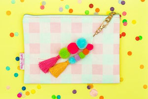 Gingham Pouch with Pom Pom & Tassel