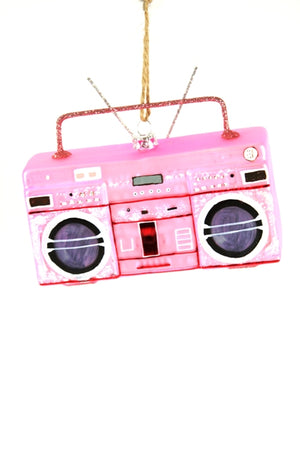 Pink Boombox Blown Glass Ornament