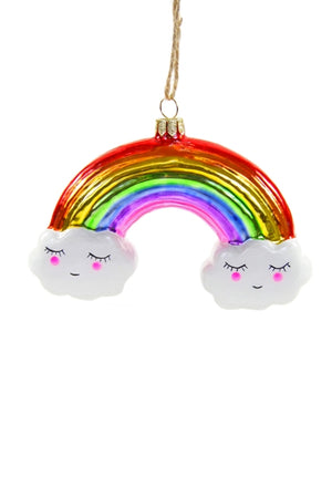 Jolly Rainbow Blown Glass Ornament