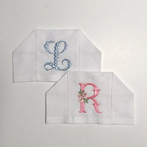 Linen Tissue Box Cover with Monogram