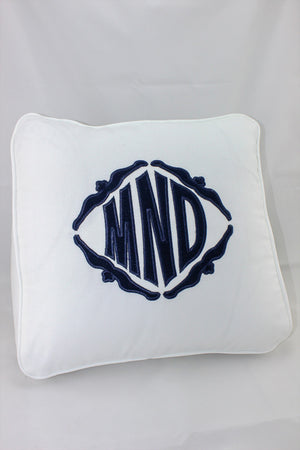 Pique Wedge Pillow with Monogram