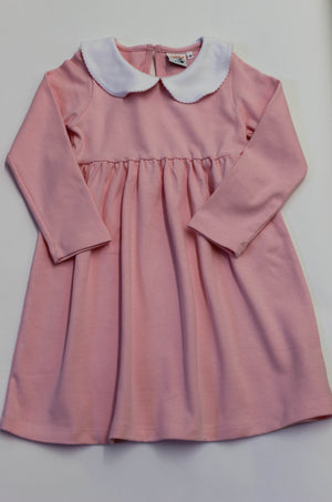 Girls Pink with White Trim Long Sleeve Dress