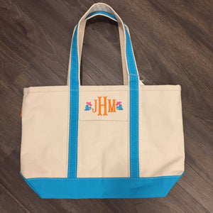 Large Canvas Boat Tote with Monogram