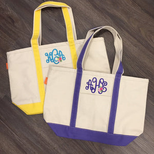 Medium Canvas Boat Tote with Monogram