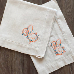 Hemstitched Natural Linen Dinner Napkins