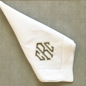 Hemstitched White Linen Dinner Napkins