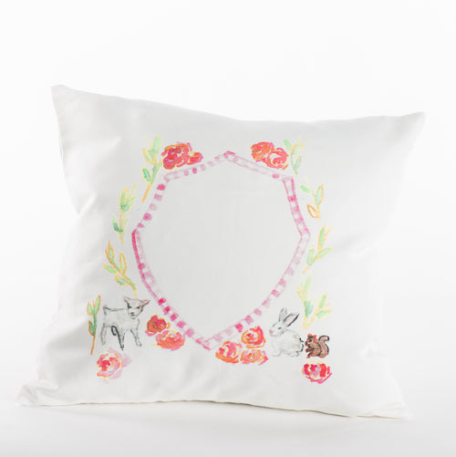 Laurel Wreath with Bunny Pillow with Monogram
