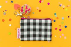 Mini Black Gingham Cardholder and Key Chain