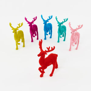 Flocked Reindeer Available in 6 colors