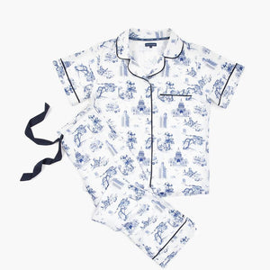 Autsin Toile Pajama Set - Short Sleeve/Pants (Navy)