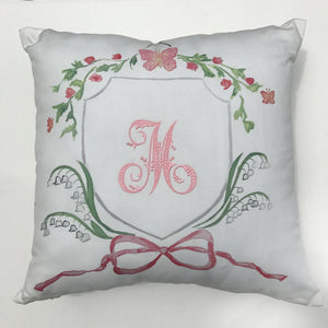 Pink Butterfly Pillow with Monogram