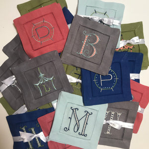 Color Linen Cocktail Napkins with Monogram