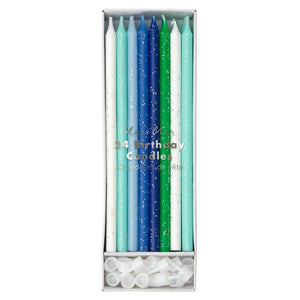 Blue & Green Glitter Birthday Candles