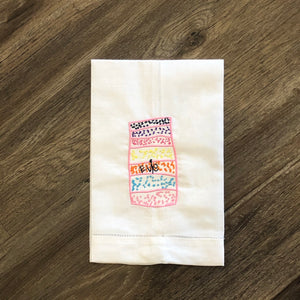 White Hemstitched Linen Guest Towel with Custom Artwork