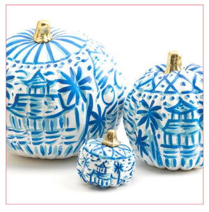 Chinoiserie Blue and White Hand Painted Pumpkin