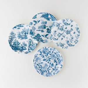 "Blue and White ""Paper"" Plate Set of 4"