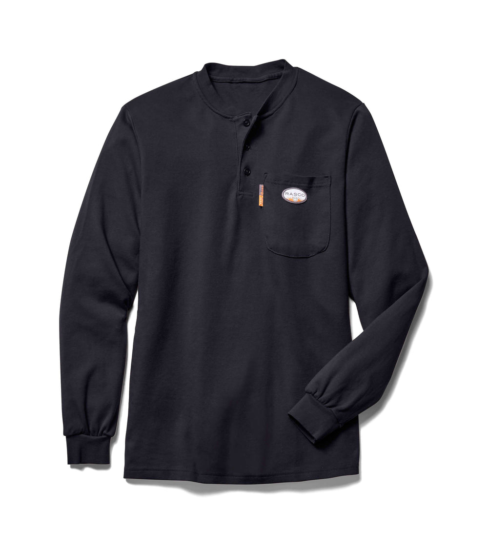 Black Long Sleeve FR Henley T Shirt