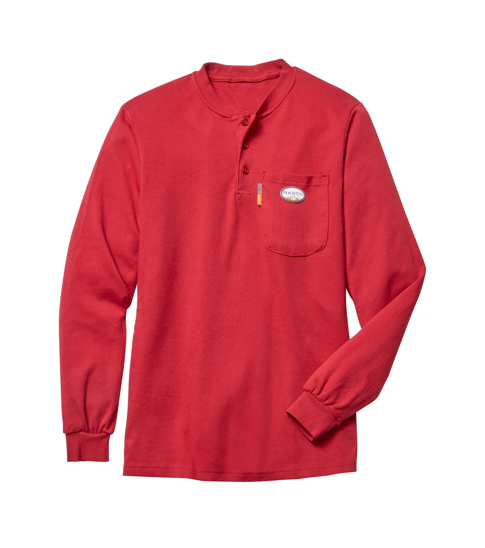 Red Long Sleeve FR Henley T Shirt