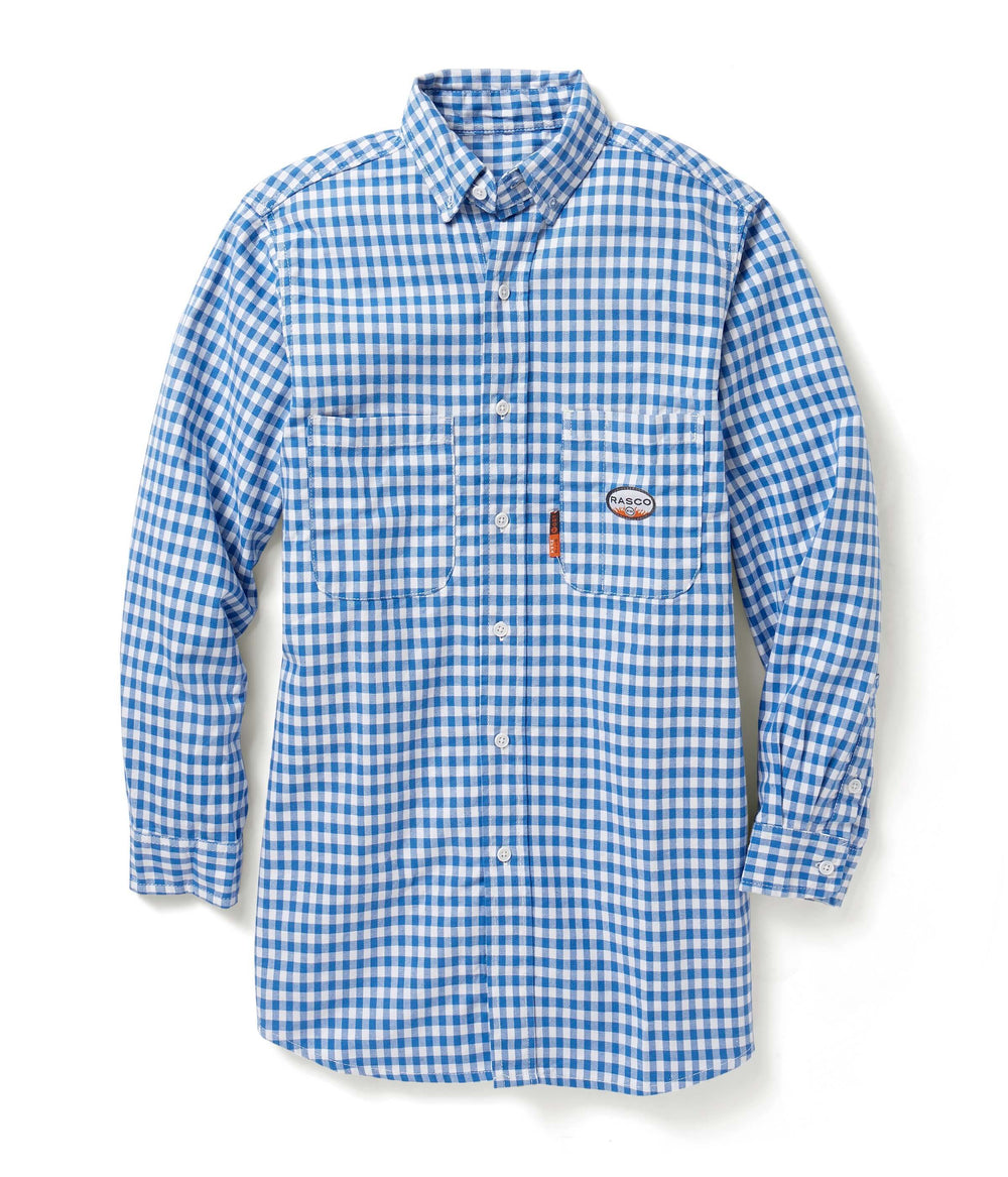 Blue Plaid Long Sleeve FR Shirt